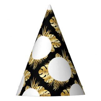 Schwarzes und Goldelegante tropische Partyhütchen