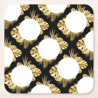 Schwarzes und Goldelegante tropische Rechteckiger Pappuntersetzer