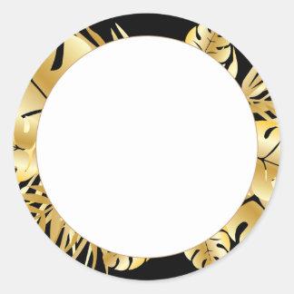 Schwarzes und Goldelegante tropische Runder Aufkleber