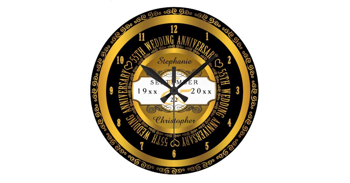 Schwarzes und Goldeleganter 55. Hochzeitstag Uhren  Zazzle