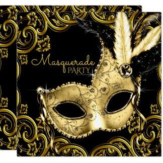 Schwarzes und Goldfeder-Masken-Maskerade-Party Karte