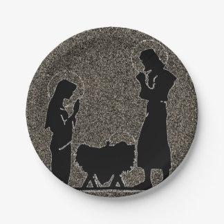 Schwarzes und GoldGeburt Christi gemasert Pappteller