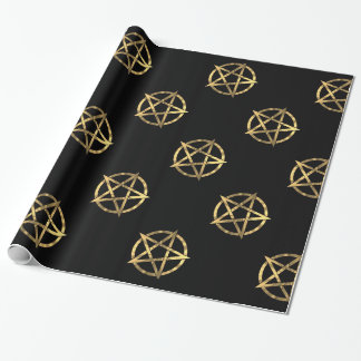 Schwarzes und Goldhexen Pentagram Geschenkpapierrolle