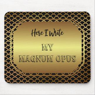 Schwarzes und Goldkammuschel-Muster-Magnum-Opus Mauspads