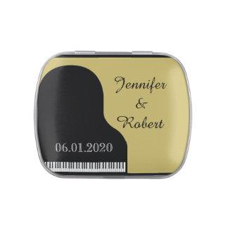Schwarzes und Goldklavier-Hochzeits-Zinn Vorratsdose