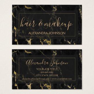 Schwarzes und Goldmarmorhaar und -make-up Visitenkarte