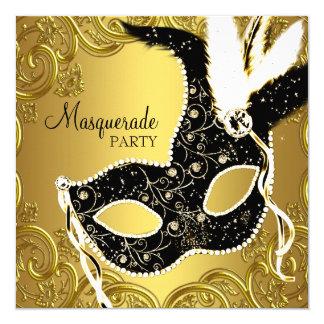 Schwarzes und Goldmasken-Maskerade-Party Quadratische 13,3 Cm Einladungskarte