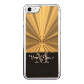Schwarzes und Goldmetallisches Monogramm Carved iPhone 8/7 Hülle
