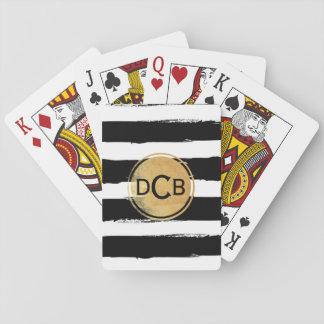 Schwarzes und Goldmonogramm-Spielkarten Spielkarten