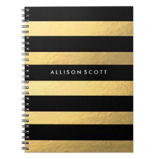 Schwarzes und Goldpersonalisiertes Notizbuch Notizblock