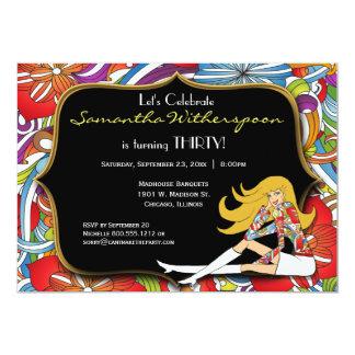 Schwarzes und GoldRetro 30. Geburtstags-Party 12,7 X 17,8 Cm Einladungskarte
