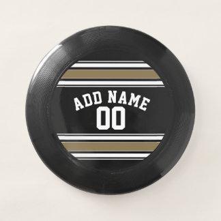Schwarzes und Goldsport-Jersey-Name - kann Wham-O Frisbee