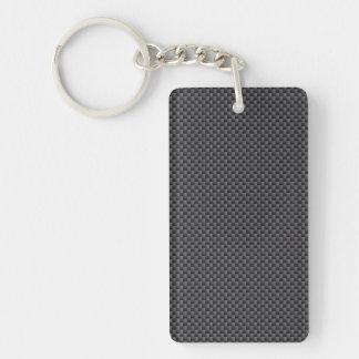 Schwarzes und graues Kohlenstoff-Faser-Polymer Schlüsselanhänger
