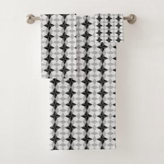Schwarzes und graues Starbust und Raute-Muster Badhandtuch Set