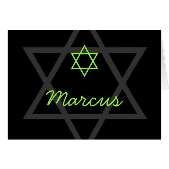 Schwarzes und grünes Bar Mitzvah danken Ihnen Grußkarte