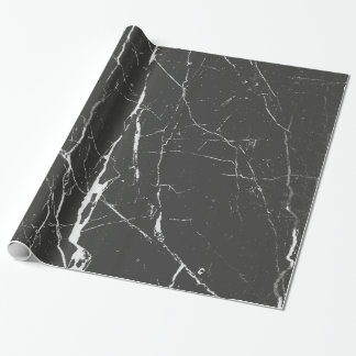 Schwarzes und hellgraues Marmormuster Geschenkpapier