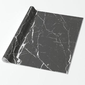 Schwarzes und hellgraues Marmormuster Geschenkpapierrolle