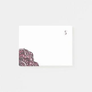 Schwarzes und lila Medaillon-Monogramm Post-it Klebezettel