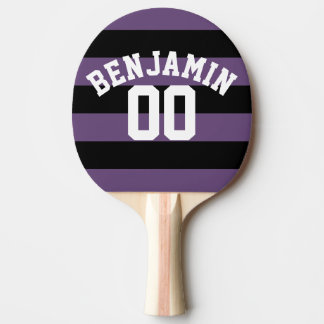 Schwarzes und lila Rugby Stripes Namenszahl Tischtennis Schläger