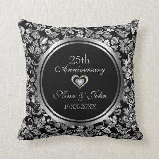 Schwarzes und metallisches Silber-25. Hochzeitstag Kissen