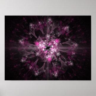 Schwarzes und rosa Fraktal Poster