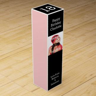 Schwarzes und Rosa personalisiert Wein-Geschenkverpackung