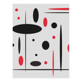 Schwarzes und rotes geometrisches Muster Postkarte