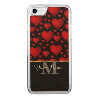 Schwarzes und rotes Monogramm-Liebe-Herzmuster Carved iPhone 8/7 Hülle