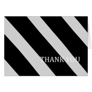 Schwarzes und Silber Streifen-Danken Ihnen Karte