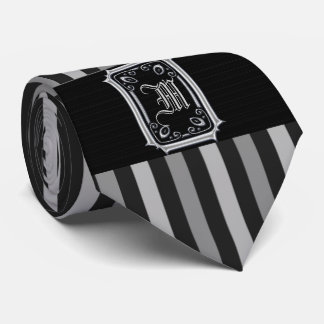 Schwarzes und silbernes Grau Stripes Krawatte