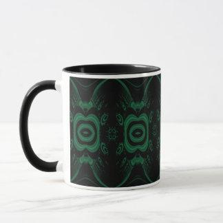 Schwarzes und Smaragdgrün-Blumen-Entwurf Tasse