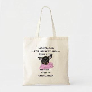 Schwarzes und TAN-Chihuahua-Welpe Budget Stoffbeutel