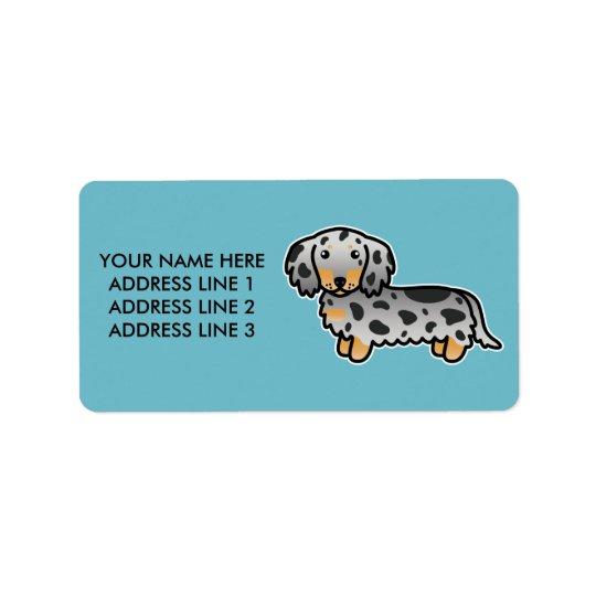 Schwarzes und TAN Dapple langen Mantel-Dackel-Hund Adress Aufkleber