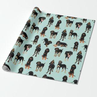 Schwarzes und TANcoonhound-Packpapier Geschenkpapier