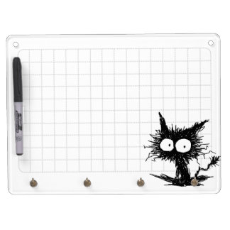 Schwarzes Unkempt Kätzchen GabiGabi Gitter-Weiß Trockenlöschtafel Mit Schlüsselanhängern