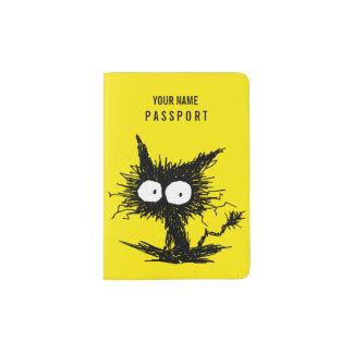 Schwarzes Unkempt Kätzchen-Gelb Passhülle