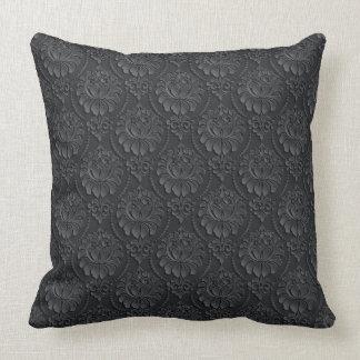 Schwarzes Vintages Muster Kissen