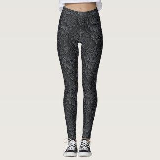 Schwarzes Vintages Muster Leggings