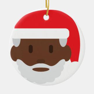 schwarzes Weihnachtsmann emoji Keramik Ornament