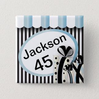 Schwarzes, Weiß und Text der Aqua-blauen Quadratischer Button 5,1 Cm