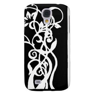 Schwarzes/weißes Blumenmuster Galaxy S4 Hülle