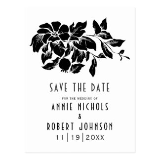 Schwarzes, weißes Blumenwedding Save the Date Postkarte