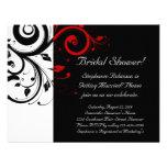 Schwarzes, weißes, rotes personalisierte einladungskarten