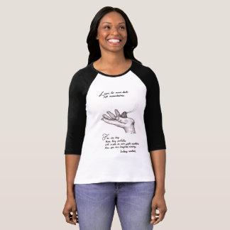 Schwarzweiss-3/4 Hülsent-shirt Zitatkunst