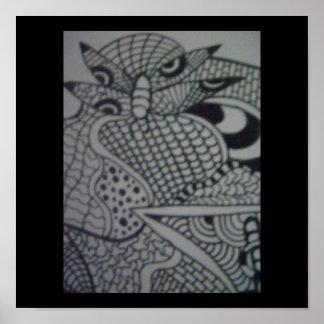 Schwarzweiss-abstraktes Poster