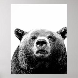 Schwarzweiss-BärnwaldtierFoto-Kinderzimmer Poster