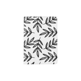Schwarzweiss-Blätter-Muster Passhülle
