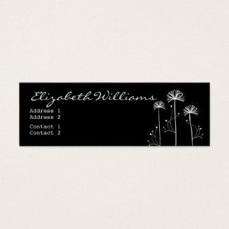 Schwarzweiss-Blumen Mini Visitenkarte