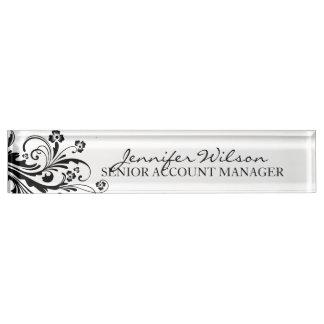 Schwarzweiss-BlumenChic Schreibtischplakette
