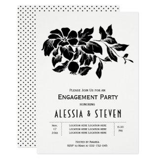 Schwarzweiss-Blumenhochzeits-Verlobungs-Party Karte